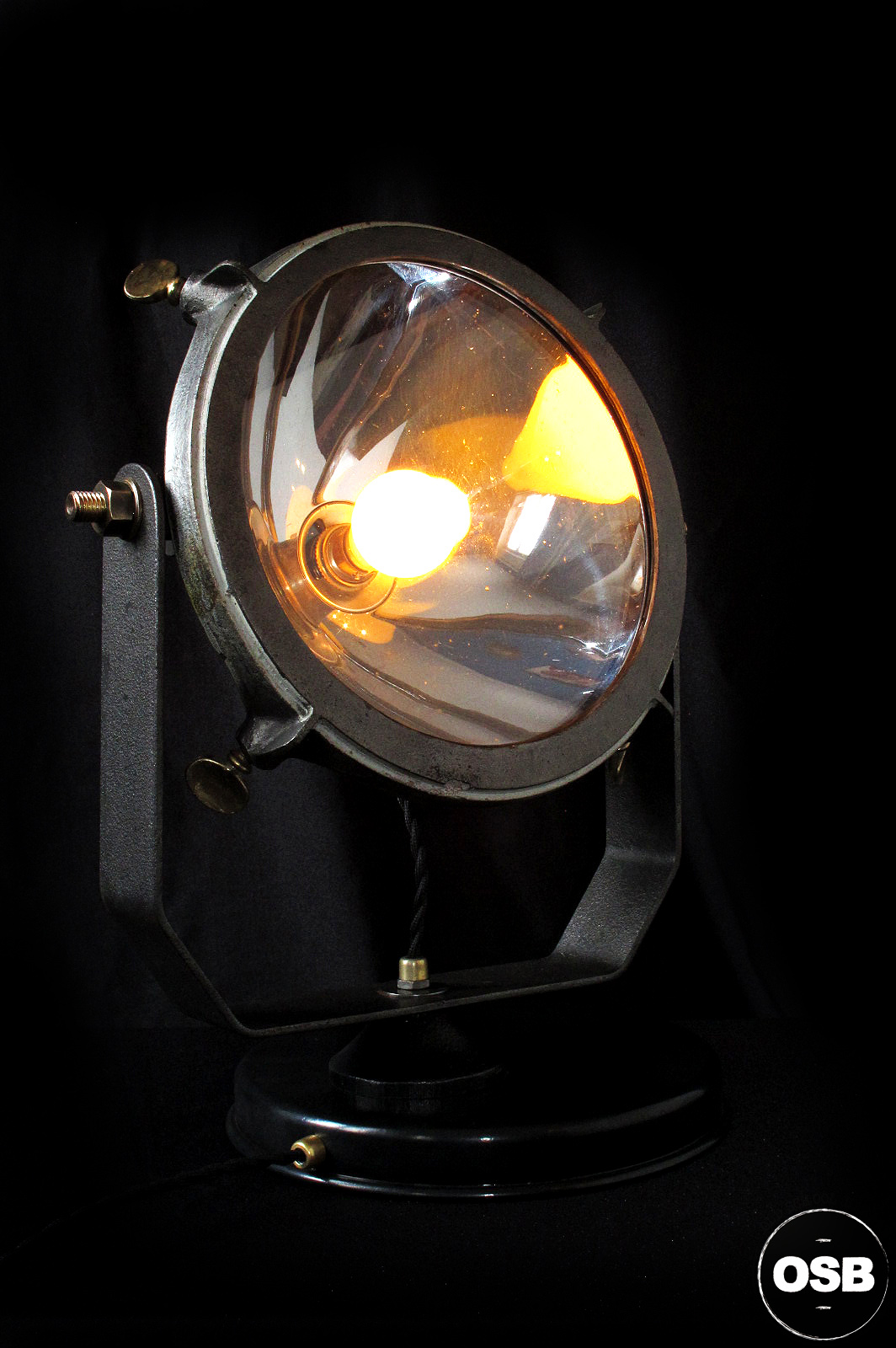 ancien phare projecteur bateau lampe marine ancien decoration loft industriel luminaire vintage. Black Bedroom Furniture Sets. Home Design Ideas