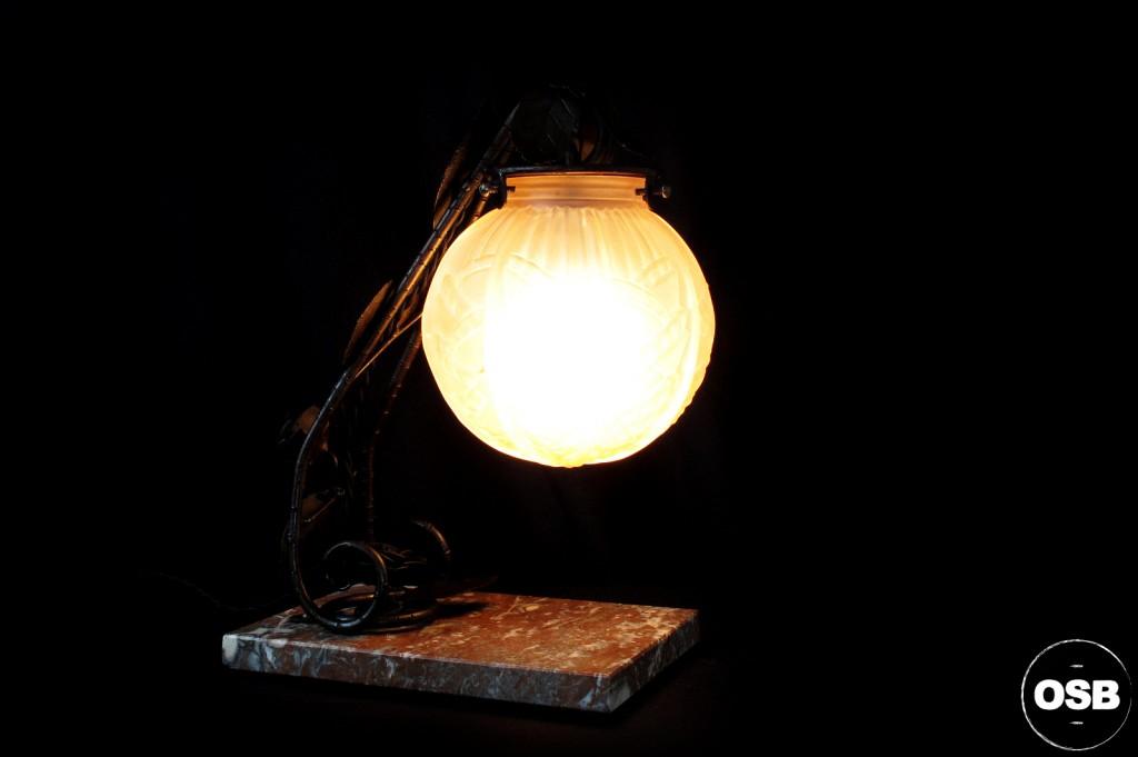 LAMPE ANCIENNE FER FORGE DEBUT XXEME 1920 1910 DECORATION LUMINAIRE ANCIEN OLD SCHOOL BAZAAR 1