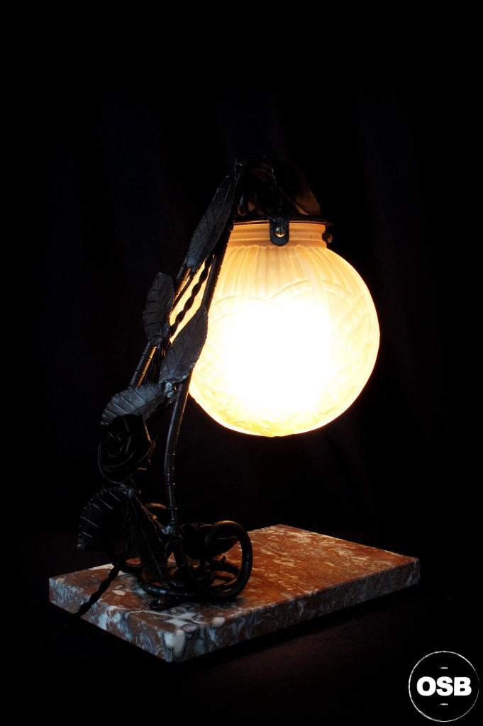 LAMPE ANCIENNE FER FORGE DEBUT XXEME 1920 1910 DECORATION LUMINAIRE ANCIEN OLD SCHOOL BAZAAR 2