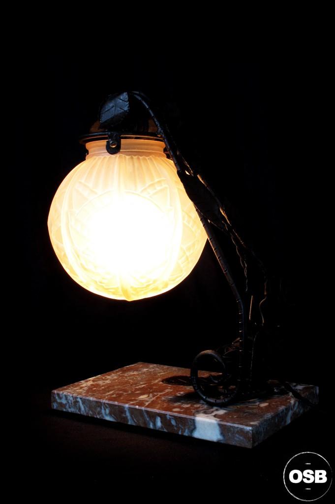 LAMPE ANCIENNE FER FORGE DEBUT XXEME 1920 1910 DECORATION LUMINAIRE ANCIEN OLD SCHOOL BAZAAR 3