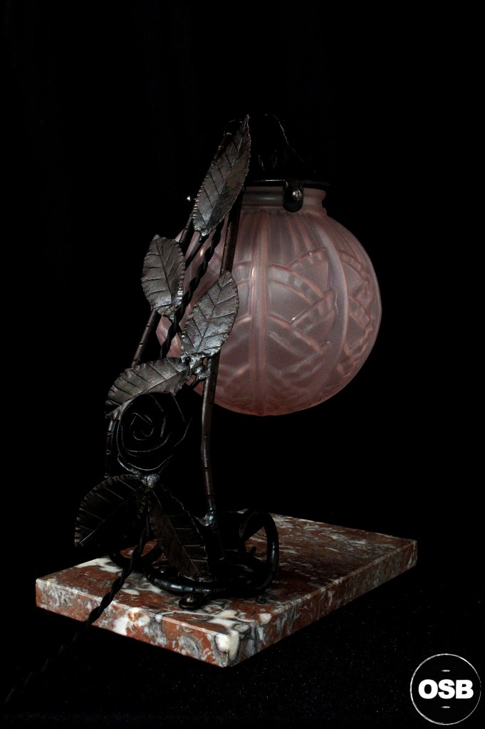 LAMPE ANCIENNE FER FORGE DEBUT XXEME 1920 1910 DECORATION LUMINAIRE ANCIEN OLD SCHOOL BAZAAR 5
