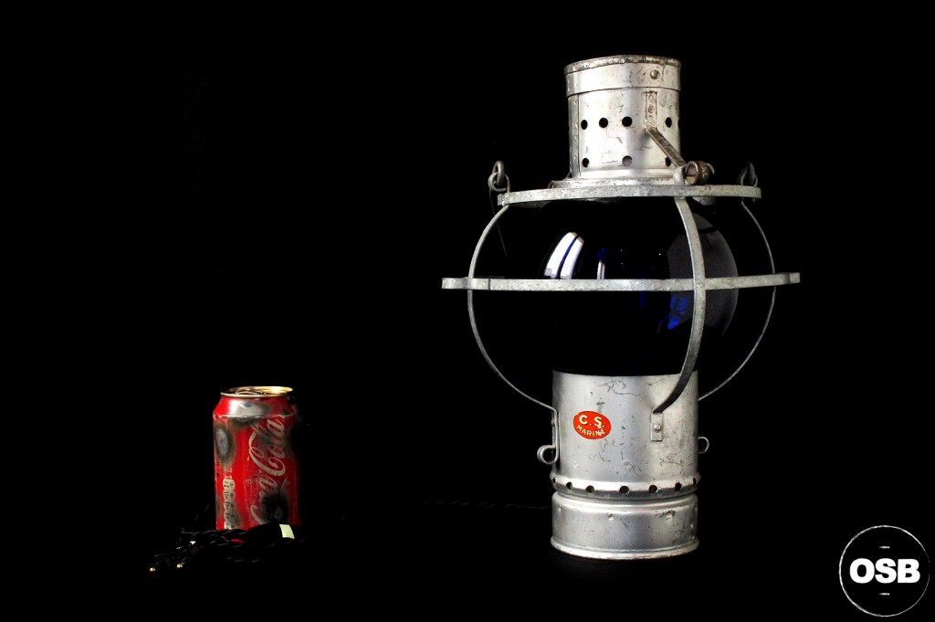 LAMPE LANTERNE COURSIVE BATEAU ANCIEN VERRE BLEU ELECTRIFIEE DECORATION MARINE ANCIEN LUMINAIRE OLD SCHOOL BAZAAR 6