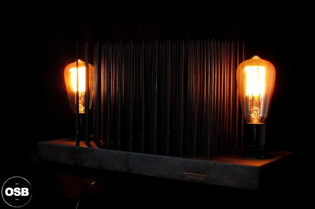 LAMPE TRACTOR CREATION LUMINAIRE UNIQUE OLD SCHOOL BAZAAR LAMPE STEAMPUNK INDUSTRIEL UNIQUE 7