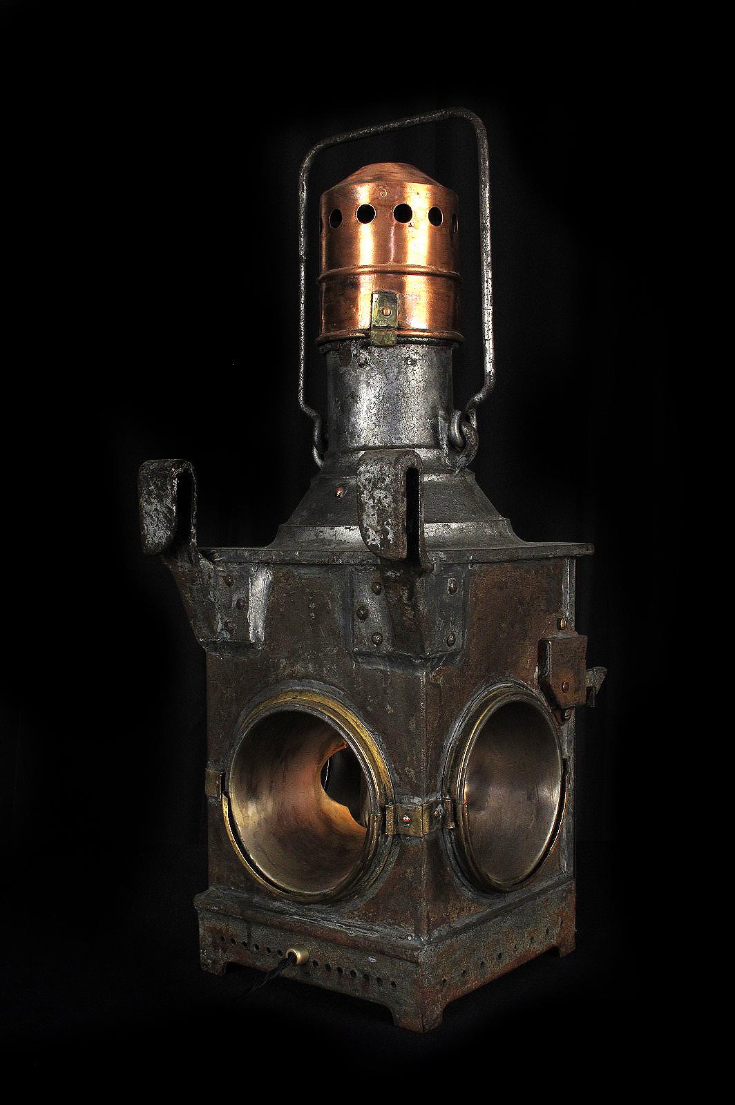 lanterne ancienne cheminot fonte bronze cuivre 1850 decoration steampunk industriel luminaire. Black Bedroom Furniture Sets. Home Design Ideas