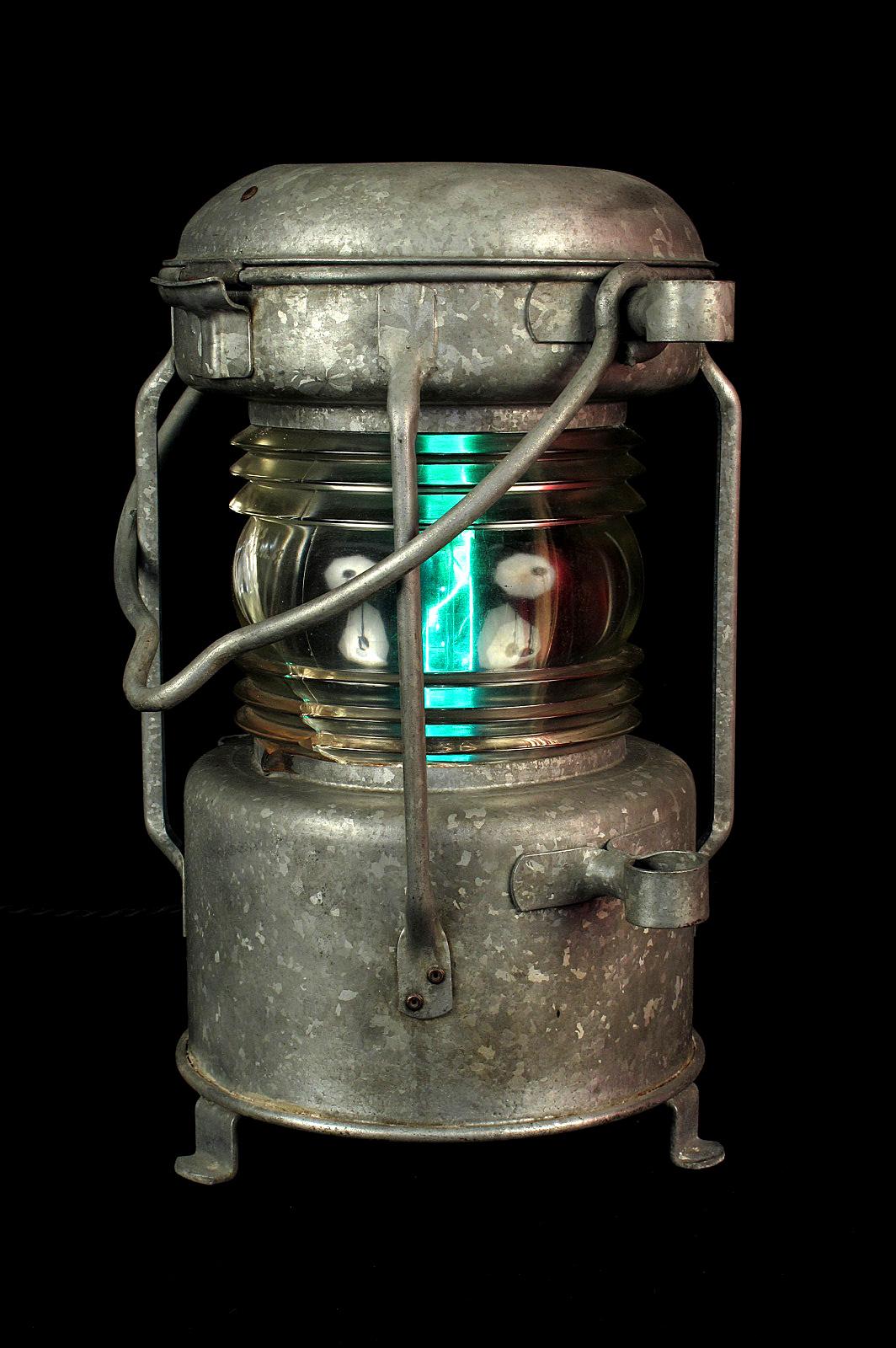 Fanal Bateau Ancien Electrifiee Lampe Original Luminaire Ancien Old