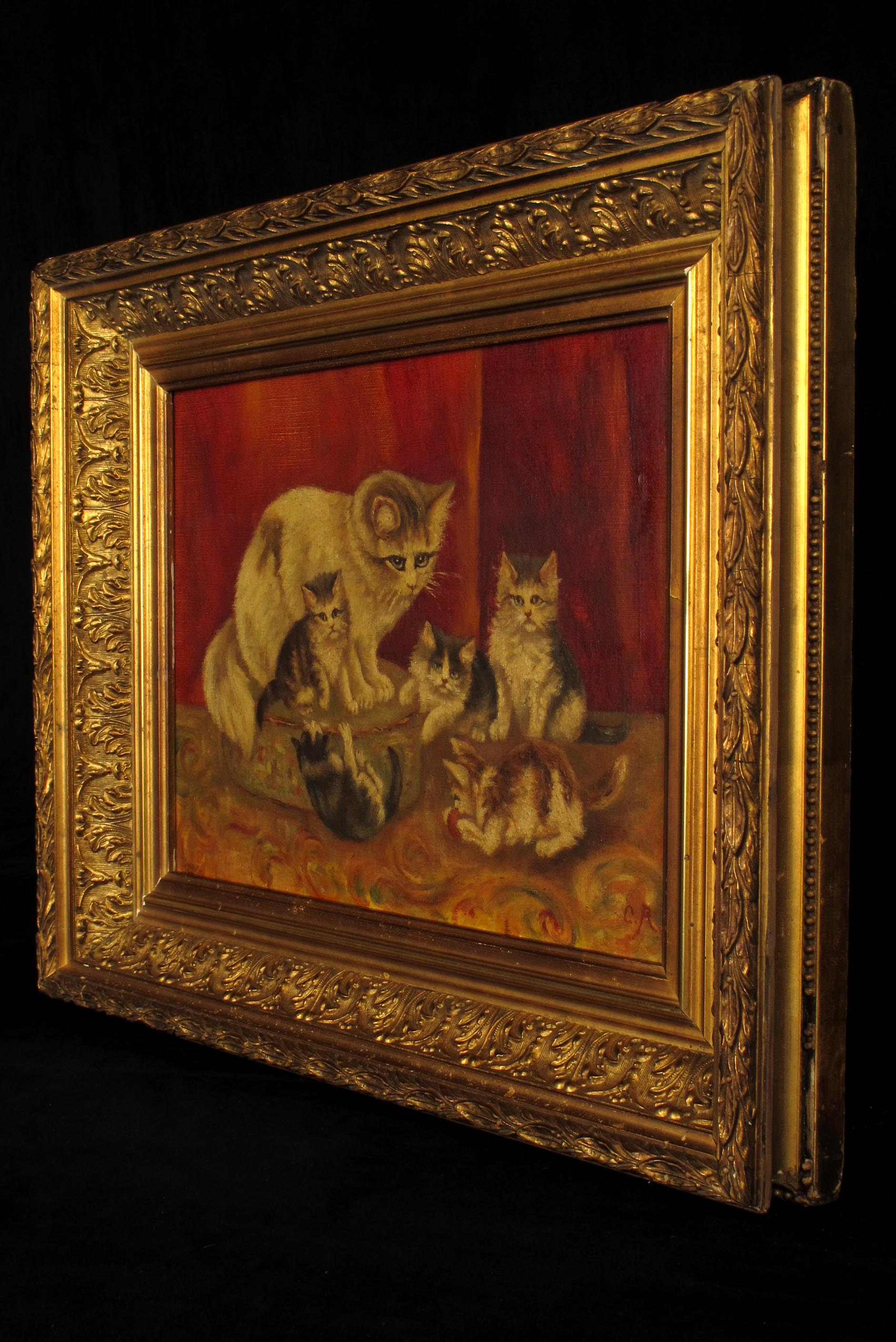 ancienne peinture l huile famille de chats vers 1880. Black Bedroom Furniture Sets. Home Design Ideas