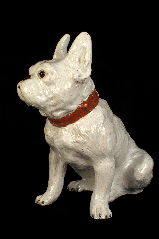 Faience Ancienne Chien Bulldog Terre Cuite De Bavent