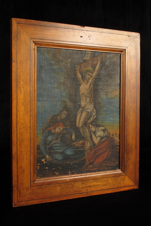 ancienne peinture l huile christ sur croix vers 1820. Black Bedroom Furniture Sets. Home Design Ideas