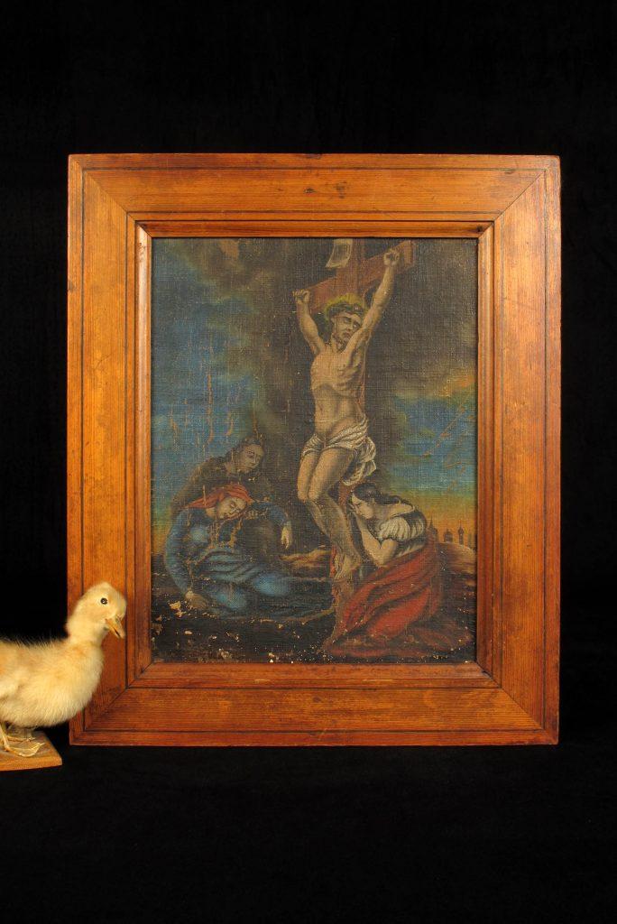 ancienne peinture l huile christ sur croix vers 1820 old school bazaar. Black Bedroom Furniture Sets. Home Design Ideas