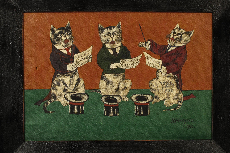 Merveilleuse peinture l huile ancienne les chats for Arts populaires
