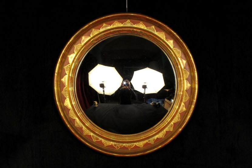 Beau miroir convexe dit de sorci re vers 1950 old for Acheter miroir ancien